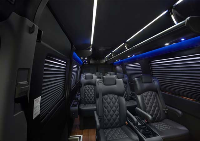 14 passenger Sprinter Luxury Van interior