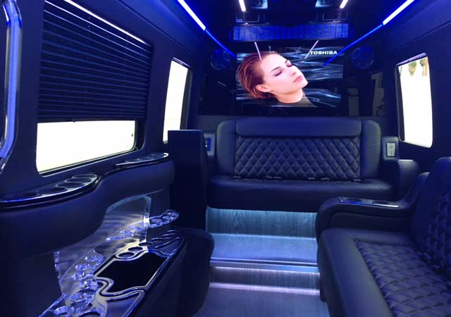 9 passenger Sprinter Limo Bus interior