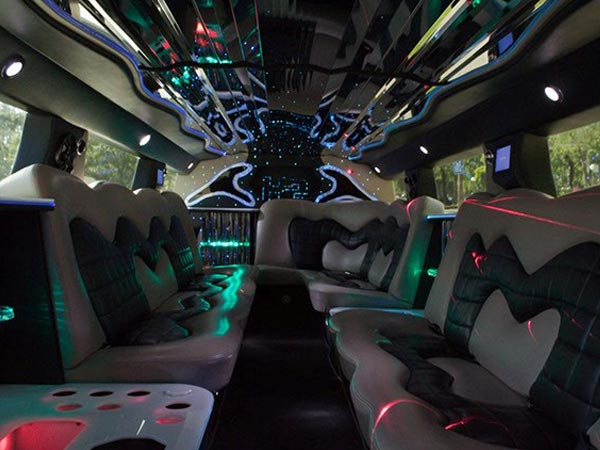 20 passenger H2 Stretch Limo interior