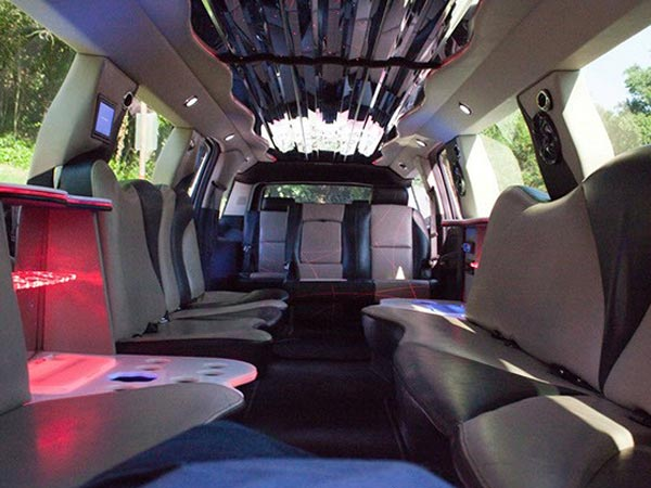 20 passenger Escalade Stretch Limo interior