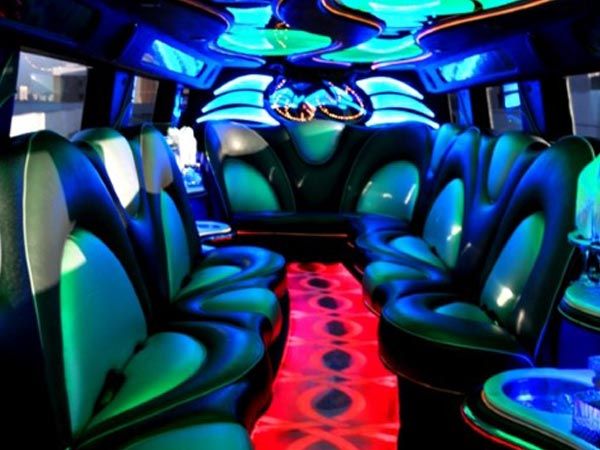 22 passenger H2 Double Axel Limo interior